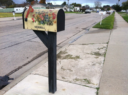 Flower-adorned mailbox on suburban street